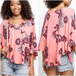 Free People Maui Wowie Blouse Coral Sz Med